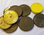10 old metal tin jelly jar vintage lids with drill holes for craft redneck wind chime altered art components found object salvaged rustic
