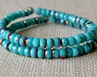 Turquoise Bronze Czech Glass Bead 2x3mm Faceted Rondelle : 50 pc Turquoise Rondelle