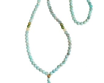 Amazonite Mala /Mala Jewelry/Amazonite Necklace/Beaded Necklace/Beaded Jewelry/Yoga Beads/Yoga Accesory/Tassel Jewelry/Boho Chic Necklace