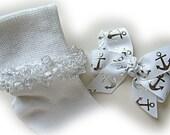 Kathy's Beaded Socks - White and Silver Anchor Beaded Socks and Hairbow, girls socks, glitter socks, pony bead socks, silver socks