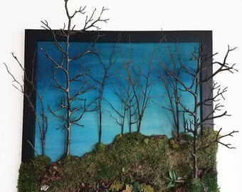 """Preserved Moss Painting """"Virginia Kendall"""". 27"""" x 27"""" Sacred Mother Earth Moss Plant Fake Plastic Trees Painting by Leah Wake"""