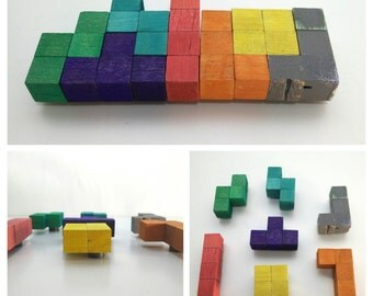 Wooden Tetris Magnets (colourful set of 7)
