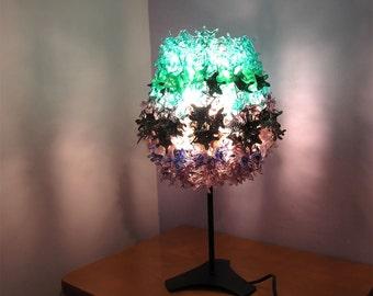 Lampwork light fixture, glass light fixture, light fixture, glass home decor, Purple dark teal light fixture SRA