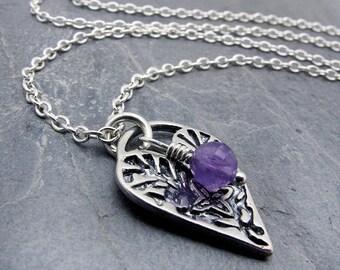 February birthstone amethyst, Valentine necklace, Amethyst necklace, February birthstone jewelry, heart pendant, heart jewelry, silver heart