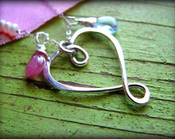 Medium Infinity Heart & Two (2) Birthstones Necklace - Gift Birthday Wedding Mother Mom Best Friend Sisters Wife Girlfriend Daughter