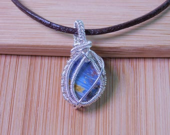 Small Blue Pietersite Polished Stone Pendant Wire Wrapped in Argentium Silver Wire Wrapped Jewelry Handmade Handcrafted Boho Jewelry Weave