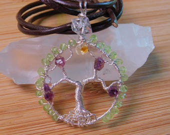 Tree of Life Pendant Amethyst Briolette Chip Citrine Diamond Quartz Peridot Bead Wire Wrapped Pendant Argentium Silver Wire Jewelry Handmade