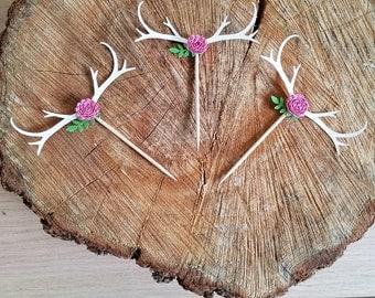Deer Antlers BOHO Cupcake Toppers - Rustic Bohemian Birthday or Wedding Floral Antlers Food Picks//Boho Baby Shower Decor//Set of 12 Toppers