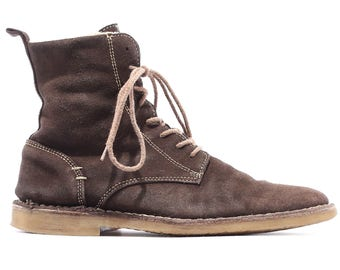 Desert Boots 90s Men's Suede Chukka Boots Brown Leather Distressed Insulated Ankle Booties Lace Up size size Men Us 8.5 , Eur 41 , UK 7.5