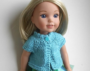 14.5 Inch Doll Clothes Knit Sweater Top Handmade to fit the Wellie Wishers and other similar dolls - Turquoise Blue Sweater