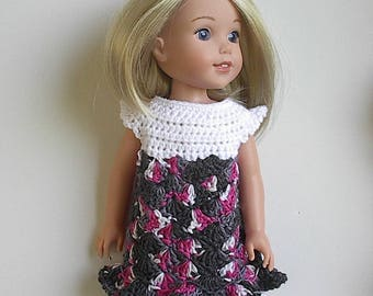 "14.5"" Doll Clothes Crocheted Multiicolor Dress Handmade to fit Wellie Wishers doll and other dolls - White with Pink Grey BLack"