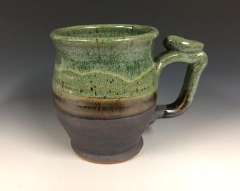 Green moss mug, handmade pottery, beer stein, ready to ship