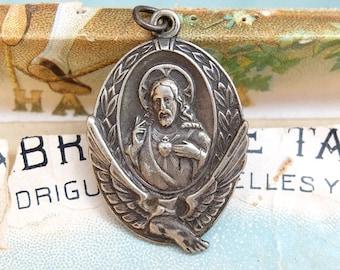 Vintage Religious Medal Sacred Heart Jesus