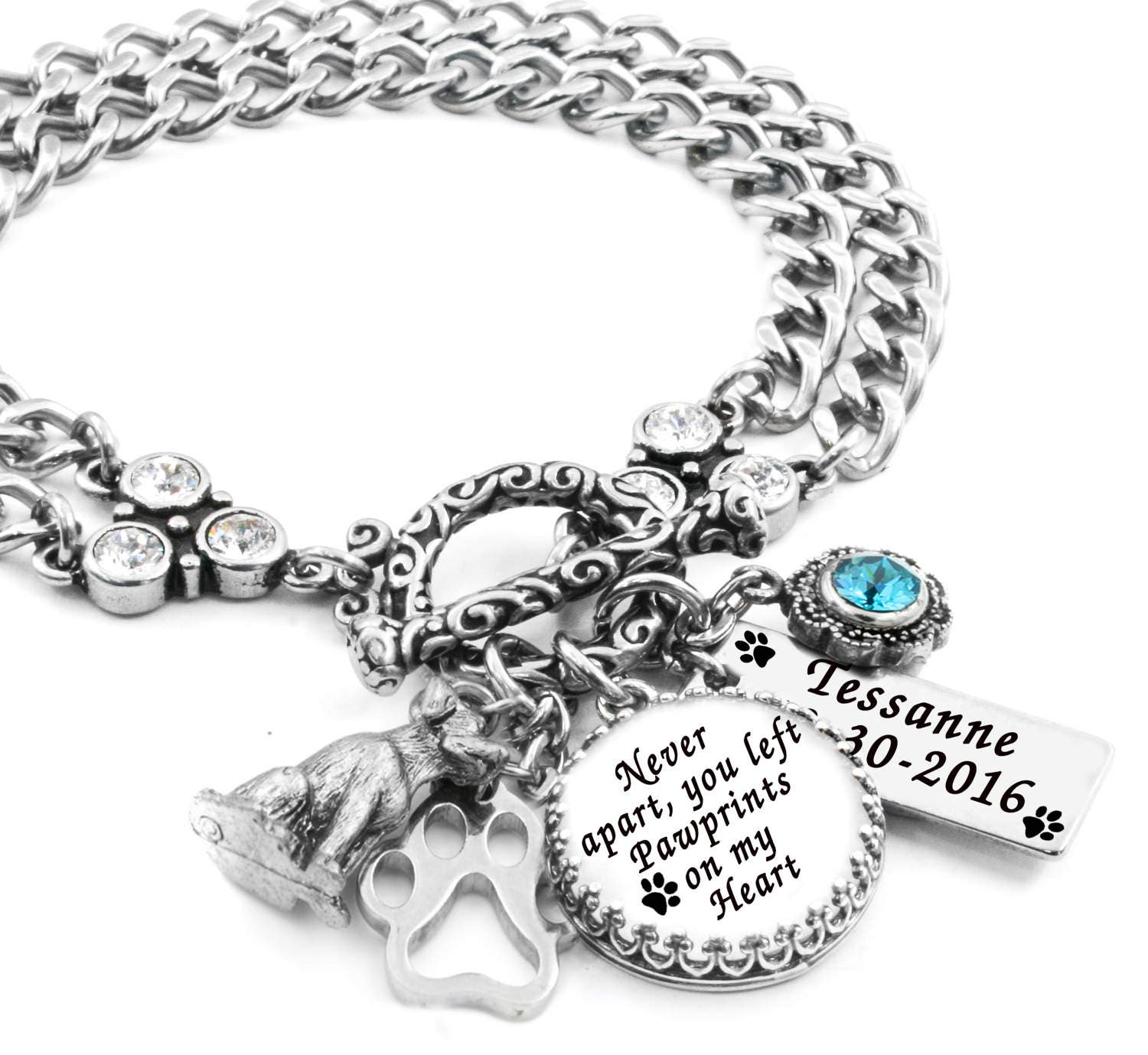Personalized Bracelet Charms: Personalized Dog Bracelet Dog Jewelry Dog Charm Bracelet