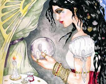 Fortune Teller with Crystal Ball Print Pagan Mystic Magickal Fine Art Illustration Fantasy Altar Decor