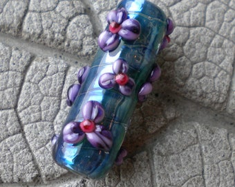Purple Floral Encased Barrel Lampwork Beads by Cherie Sra R114 Flamework Glass Bead Encased Purple Flower Floral Focal Encased Silver Glass