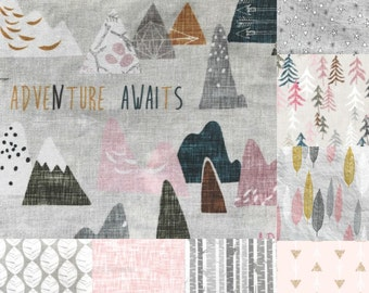 Personalized Baby Girl Blanket Hand Embroidered with Custom Name Quilt ~ Adventure Awaits ~ Mountains Arrows Birch Stars ~ Boho Nature Girl