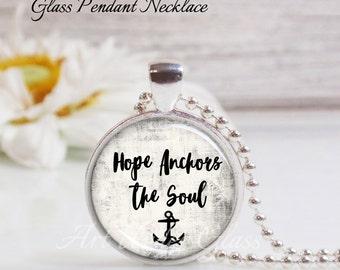 Round Medium Glass Bubble Pendant Necklace- Hope Anchors The Soul