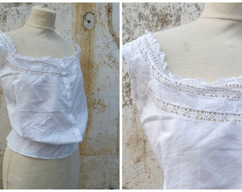 Victorian 1890 French handmade white cotton embroidered  blouse CACHE CORSET size S