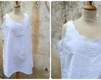 Vintage Antique 1900s French Edwardian white cotton dress underdress with handmade floral embroideries  size M