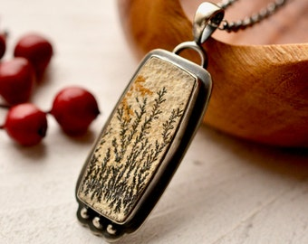 Dendritic Limestone Pendant Necklace, Nature Lovers Gift, Unique Gift Idea, Artisan Metalwork, Handmade Fabricated Silver
