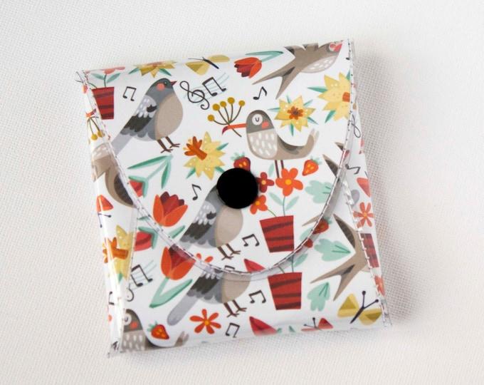 NEW Handmade Vinyl Coin Purse - Song Birds/ wallet, vegan, change, snap, small, little, pocket wallet, gift, bird, woodland, butterfly