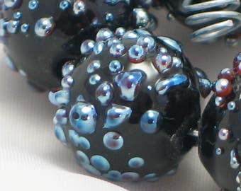 Handmade Glass Lampwork Beads, focal filler art bead Black/Irid 11mm round