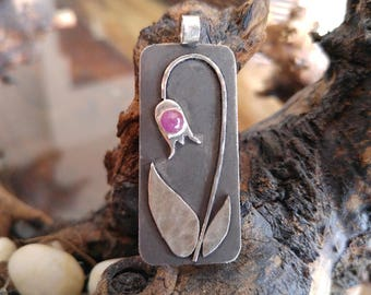 Nature Inspired Pendant - with a Ruby
