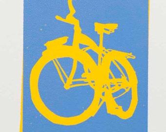 Bike Art Print - Schwinn Cruiser Bicycle - Blue on Yellow - Wall Art Bike Print