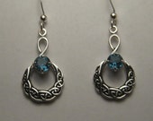 Beautiful Blue Topaz Earrings .  Sterling Silver. Celtic.     e985