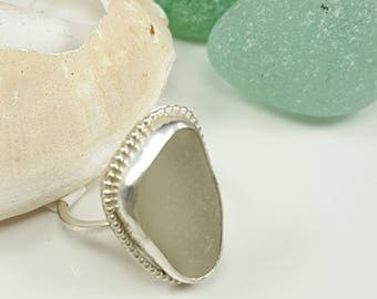 Sea Glass Jewelry Sea Glass Ring White Sea Glass Ring  White Beach Glass Ring Size 9 - R-155