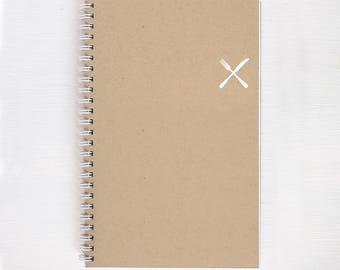 kraft foil notebook - fork and knife