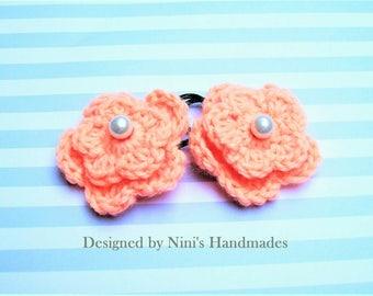Ready To Ship, Reusable Versatile Peach Crochet Flower Ponytail Holder Hair Tie, crochet flower hair accessories, pink flower hair