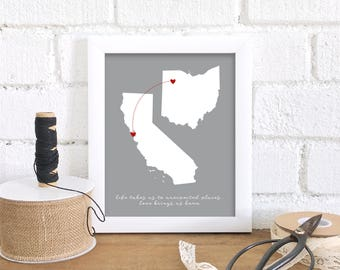 Gift for Mom Long Distance Family Map, Two States Map, Miss You Gift for Mom, Send Mother's Day Gift, Mom Quote, Gift for Her Close at Heart