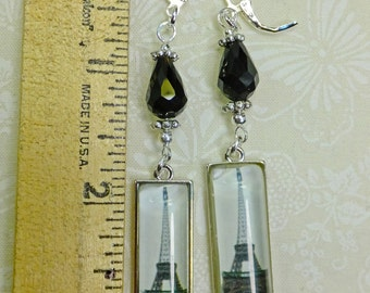 Steampunk Earrings Black Glass Teardrop Beads with Eiffel Tower Photo Charms Fish Hook Earwires