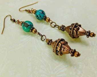 Antique Copper with Genuine Turquoise Beads Steampunk Fantasy Dangle Earrings