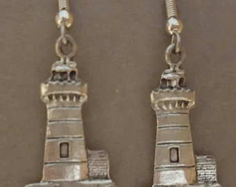 Lighthouse Earrings Pewter