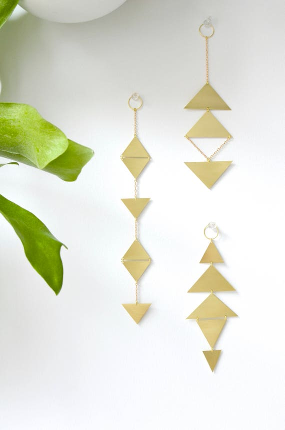 Brass wall hanging -  handmade wall décor - triangle wall decor