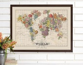 Vintage Map Wall Art, Bouquet, World Map Lithograph