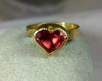 Pink Tourmaline Ring, Solitaire Ring, Solid  18 kt yellow gold Statement ring,   tourmaline Heart  Gemstone ring