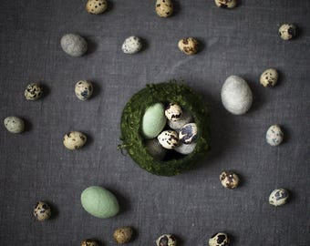 Rustic Easter home decor - eggs Felted woolen eggs on linen Living room kitchen art - Still life  5x7 inches fine art photo print