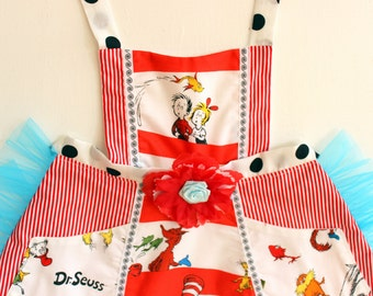Dr Seuss Apron, Thing one and Thing two apron, dress up, costume