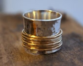 ON SALE Silver Gold Wide Band Statement Spinner Ring - Gold Fiddle Ring , Statement Jewelry SR112