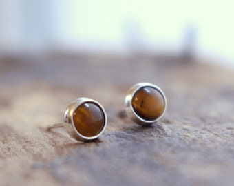 Tiger eye sterling silver stud earrings