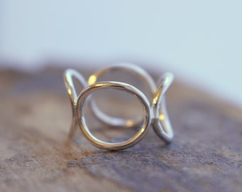Sterling Silver Circle Link Ring - Silver ring band