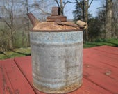 Vintage Gallon Kerosene Can - Galvanized Metal Container - Rustic Decor - Garden Art