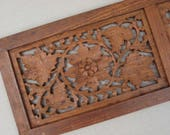 1970s Vintage Carved Wood Panel Sheshamwood by Sarna India Boho Wall Decor 6 Inches x 18 Inches