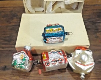 Box 4 Christmas Vtg Figural Ornaments-Streetcar-train-House-Large mans face  Listed for charity