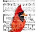 MY MOTHER RED CardinaL Bird  lovely  Art Print  Religious Hymn 4x6, 5x7, or 8x10  F R E E  Shipping