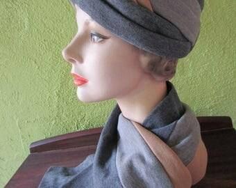 Irene of New York Vintage Knit  Turban Hat Scarf Set Charcoal Gray Khaki Saks Fifth Avenue